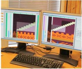 Am Computer entstehen neue Muster, die am traditionellen Design angelehnt sind. Foto: DALE of Norway