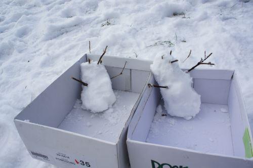 Auf geht's zur lustigen Schneemann Rallye! Mit Schneebällen bewegt ihr die Kartons mit den Schneemännern vorwärts.  Foto: (c) Kinderoutdoor.de