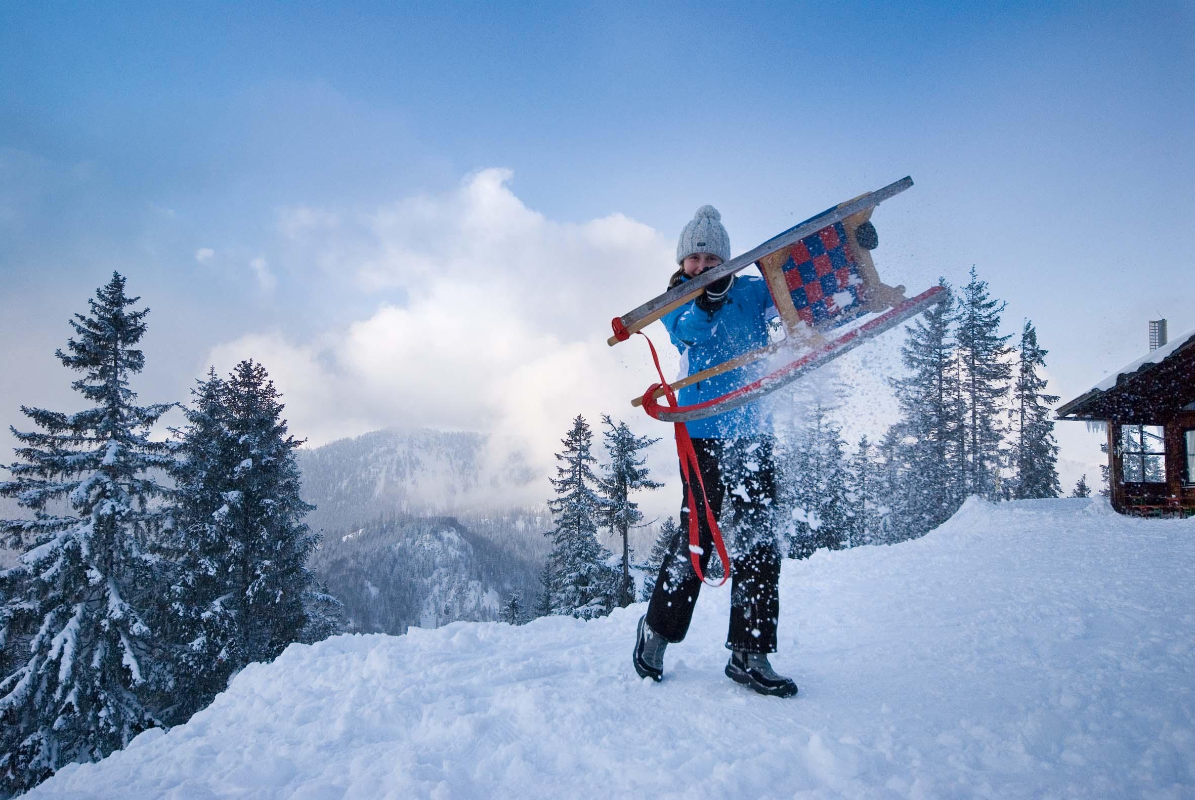 Urlaub in Berchtesgaden: Eine Schlittenfahrt vom Hochschwarzeck sollte unbedingt dabei sein!  Foto: (c) Berchtesgadener Land Tourismus GmbH