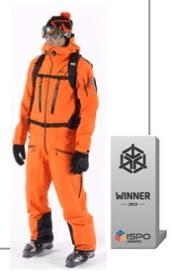 Orange trägt nur die Müllabfuhr. Im Gegensatz zu den niederländischen Fußballspielern, gewinnt Millet. Für den BIMB PRO GTX SUIT im Oranje Style gibt es den ISPO Award.Foto:(c) Millet