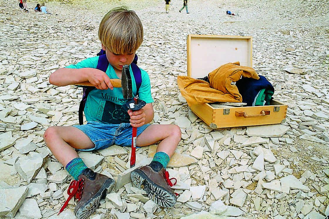 An fünf Sammelstellen und Steinbrüchen im Naturpark Altmühltal, können die Kinder selbst nach Fossilien suchen.  Foto: (c) Naturpark Altmühltal