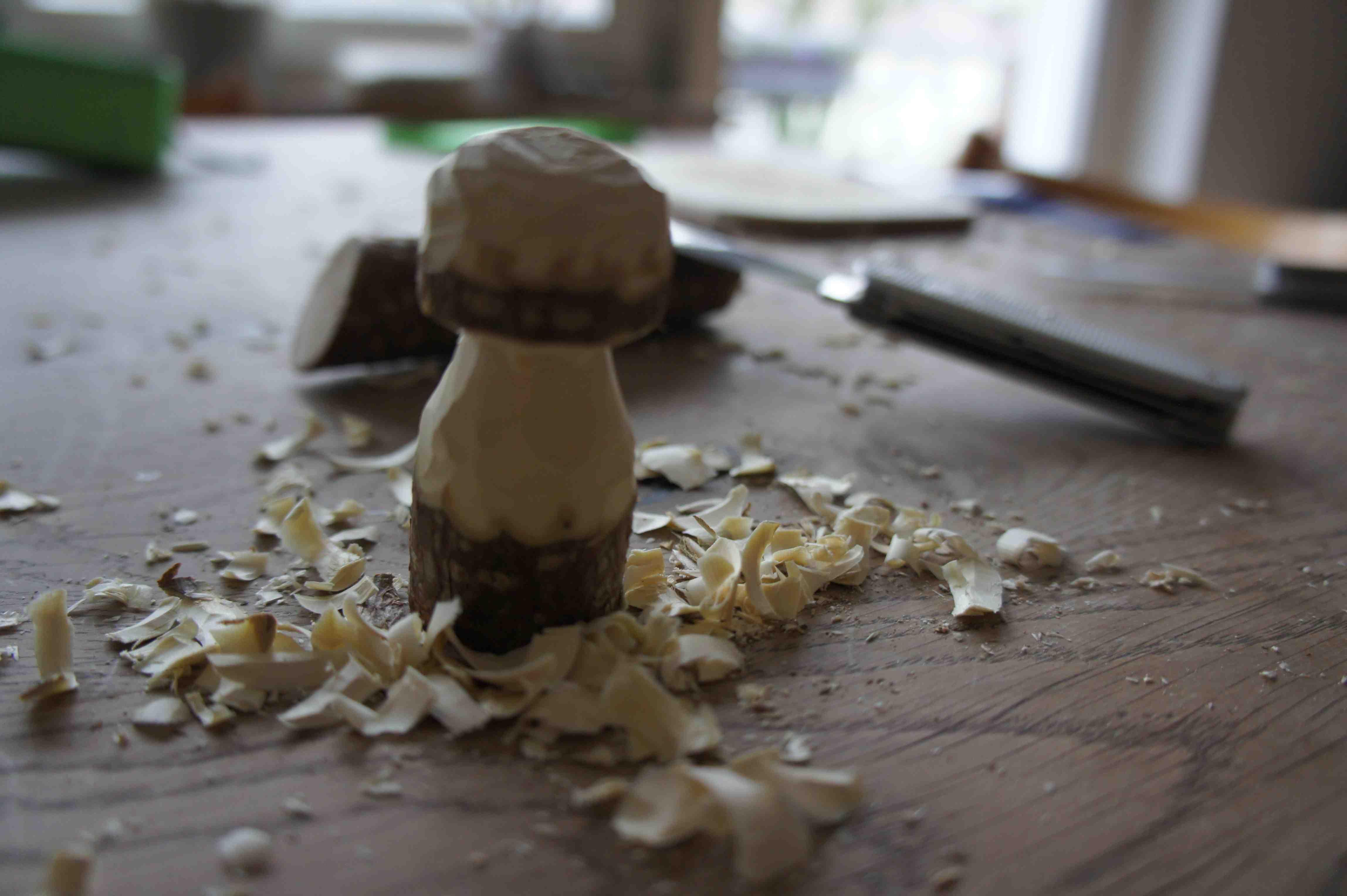 So sieht der fertige Haselnuss-Pilz aus. Eine tolle Bastelei für Kinder! Foto: (c) Kinderoutdoor.de