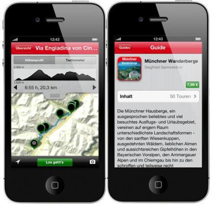 Smart wandern mit der App von Rother. Statt einem Buch ist das Handy der Wanderführer. Foto: (c) Bergverlag Rother