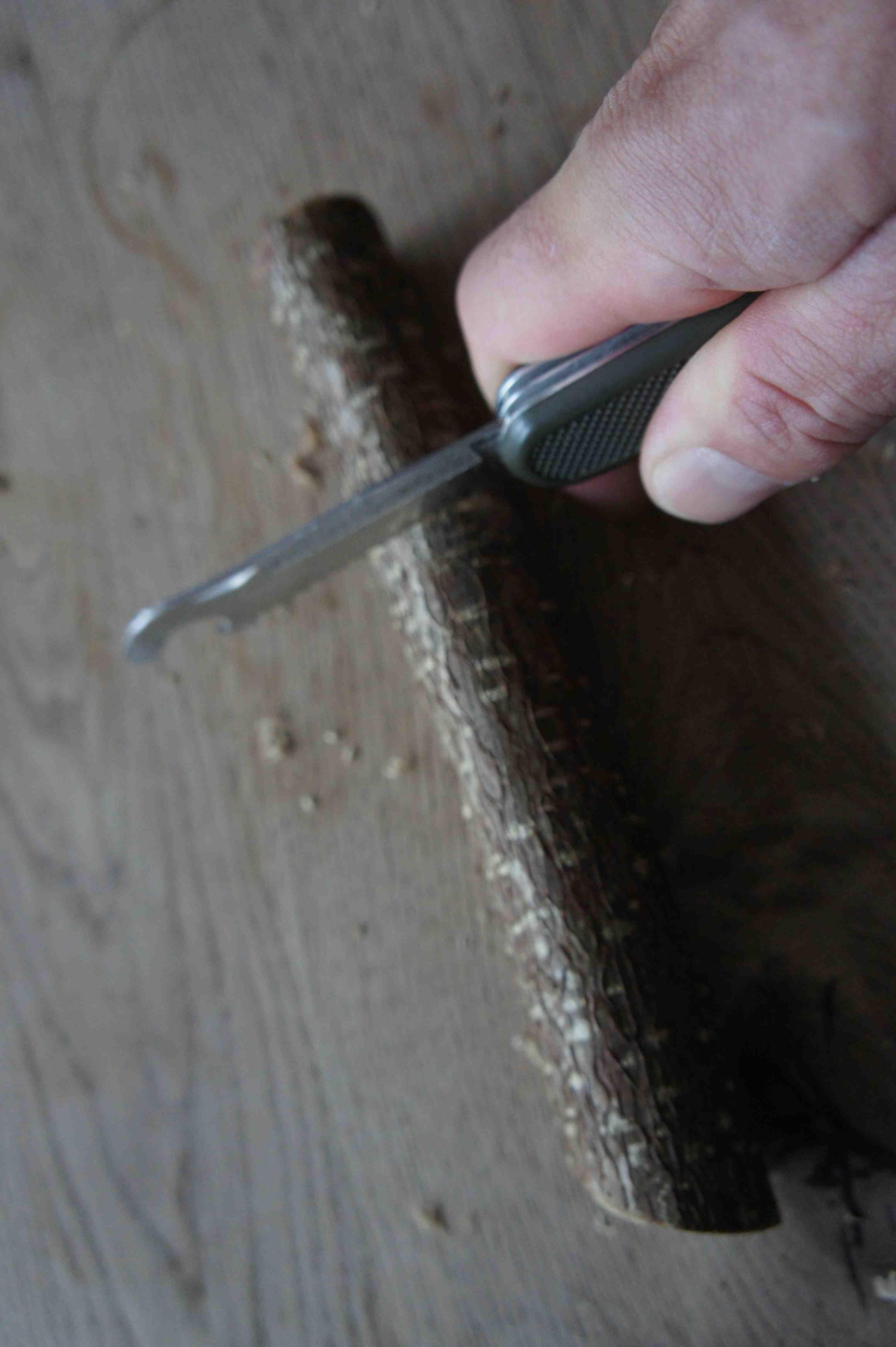 Mit der Säge schneidet Ihr vom Haselnuss-Ast ein Stück zum Schnitzen ab. Foto: (c) Kinderoutdoor.de