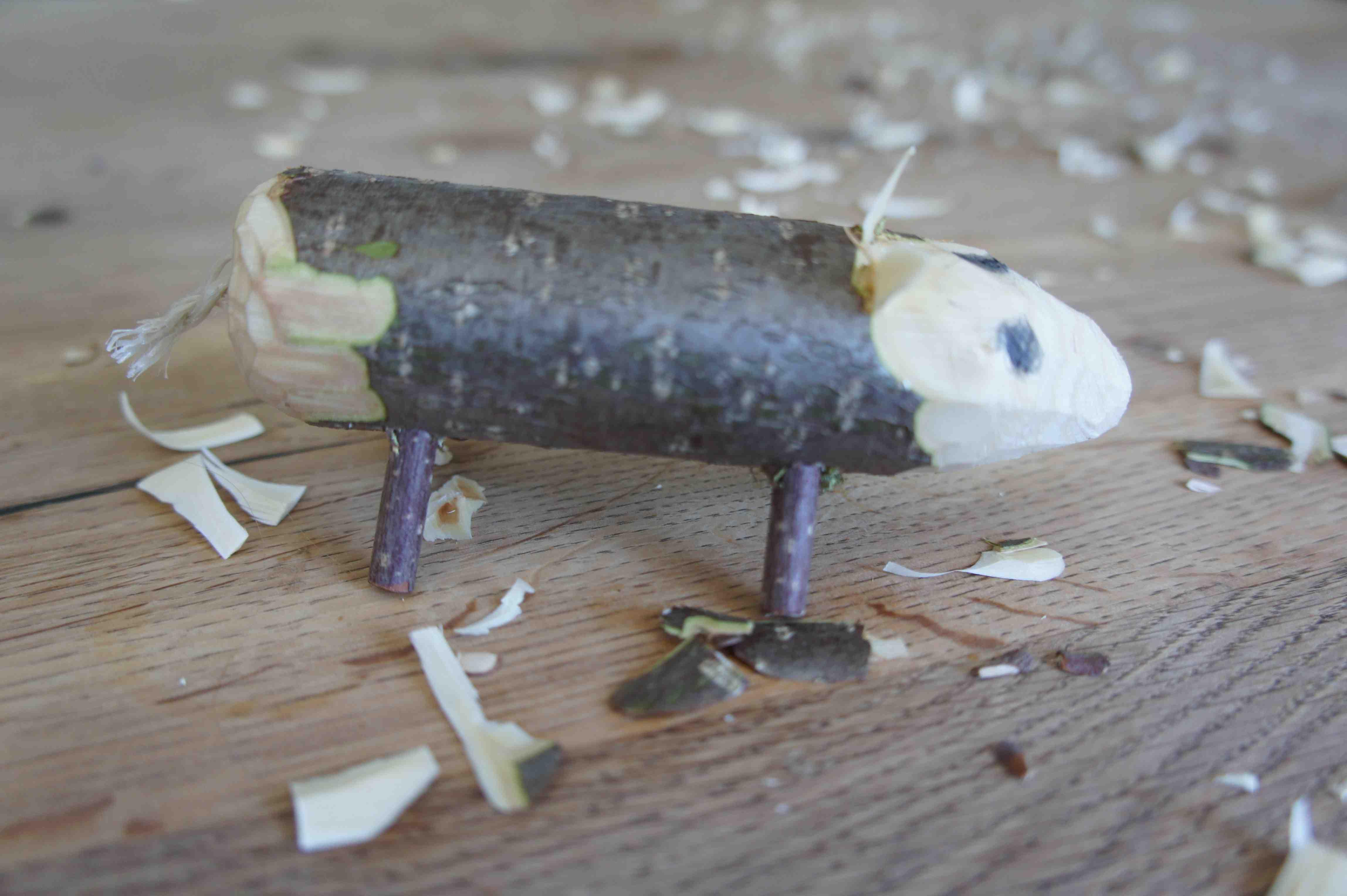 So sieht unser geschnitztes Wildschwein aus. Foto: (c) Kinderoutdoor.de