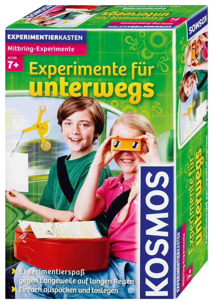 Spiele auf Reisen für Kinder ! Mit dem Experimentierkasten für Unterwegs von Kosmos kommt garantiert keine Langeweile auf.  Foto: (c) Kosmos-Verlag