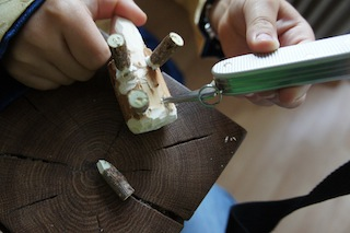 Nun kommen die Beine in die Bohrungen. Foto.(c) Kinderoutdoor.de