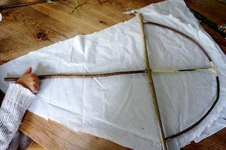 Auf die Tüte! Zuerst die Platiktüte oder Papiertüte, links und rechts aufschneiden. Anschließend kommt der Drachenrahmen drauf. Foto: (c) Kinderoutdoor.de