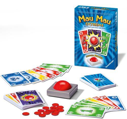 Ein beliebtes Kartenspiel im deutschsprachigem Raum und Brasilien ist Mau Mau. Hier eine Extrem-Version von Ravensburger. Foto(c) Ravensburger