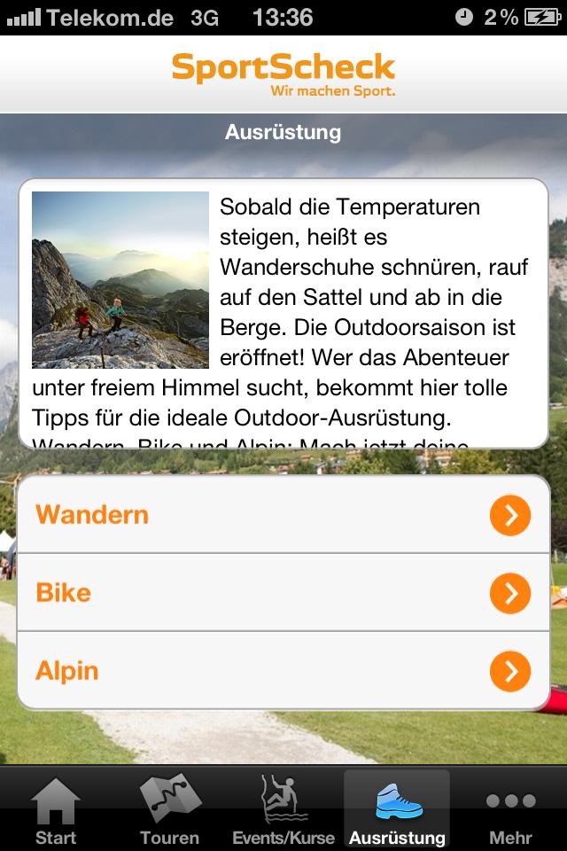 Eine kostenlos Outdoor App von Sport Scheck. Ein leicht zu bedienendes Rundum Sorglos Paket. Foto: (c) Sport Scheck