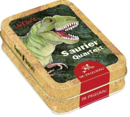 Quartett ist als Kartenspiel seit 1585 bekannt und davon gibt es mittlerweile unzählige Versionen. Wie hier mit Sauriern. Foto. (c) coppenrath