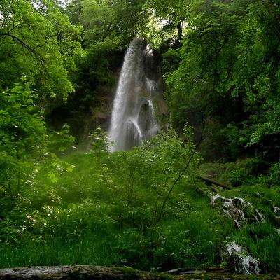 Mit Kindern im schwäbischen Regenwald wandern. Von den Bad Uracher Wasserfällen gibt es einen tollen Blick auf die ehemaligen Vulkankegel. Foto: (c) Peter Habereder  / pixelio.de
