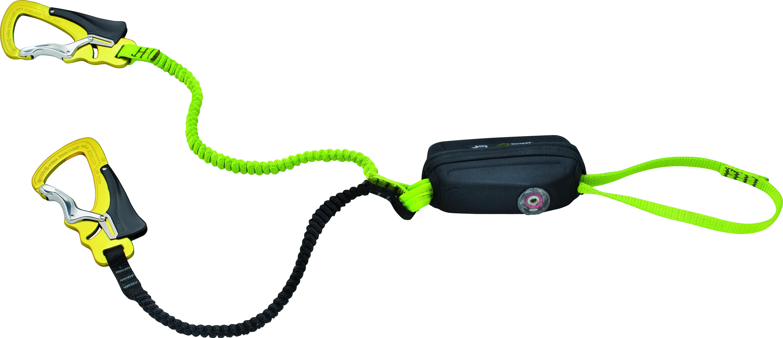 Ein Klettersteigset für Kinder und Erwachsene: Einfach einzustellen wir eine Skibindung ist das Cable Vario von Edelrid. Foto: (c) Edelrid