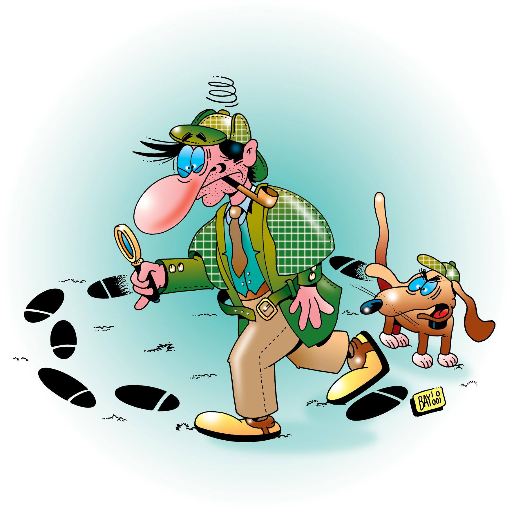 Bei der Schnitzeljagd gehen die Ermittlungen gut voran...... Illustration: (c) Stefan Bayer  / pixelio.de
