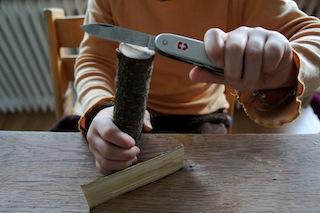 Haarspalter kennt Ihr sicher, aber Holzspalter? Spaltet das Holz in drei gleichdicke Teile. Foto: (c) Kinderoutdoor.de