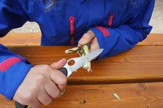 Zuerst ein Ende der Astgabel abrunden.  Foto (c) Kinderoutdoor.de