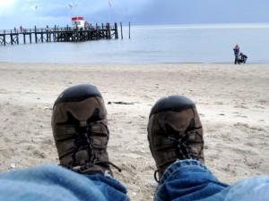 Keen Hikingschuhen machen einiges mit. So auch die Gypsum am Nordseestrand.  Foto (c) Kinderoutdoor.de